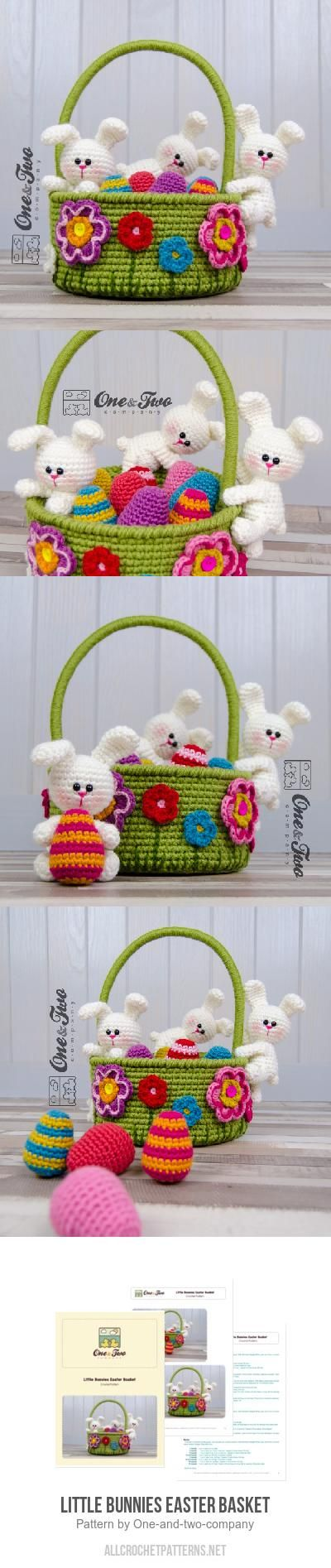 Little Bunnies Easter Basket Crochet Pattern By One And Two Company