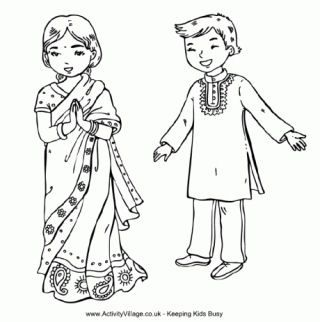 India Colouring Pages India For Kids Indian Children India Crafts