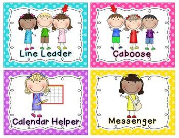 Classroom jobs chart bright polka dots also pinterest job rh