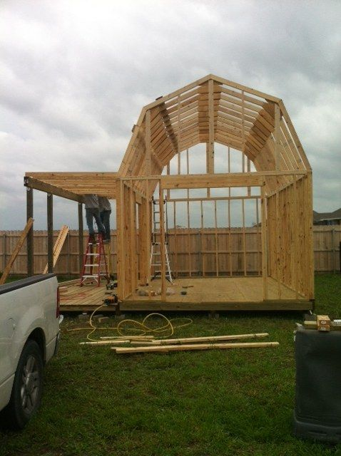 Would make a great tiny house with all that room in the for Gambrel shed plans with loft