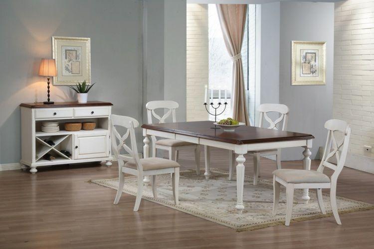 Schlichter Teppich in Creme für eine Vintage Esszimmer Einrichtung - teppiche für die küche