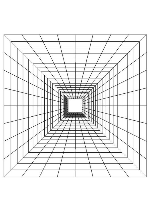Coloring Page Depth Img 29420 Perspective Art Geometric Coloring Pages Illusion Drawings
