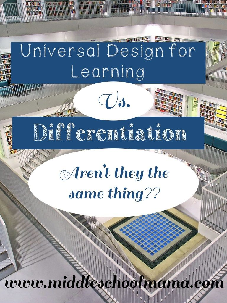 Universal Design For Learning Udl Vs Differentiation Middle School Mama Universal Design Udl Lesson Plans Learning Theory