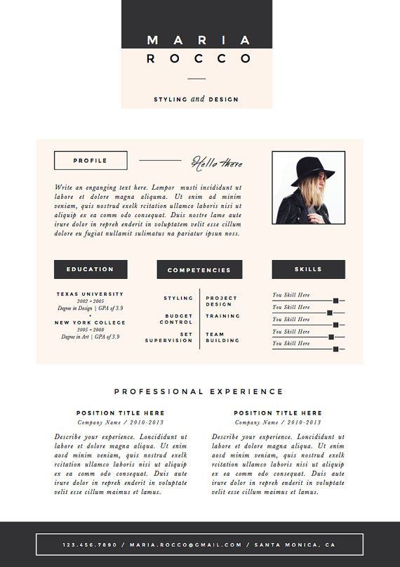 3pk Resume / CV Template + Cover Letter for MS Word | Instant ...
