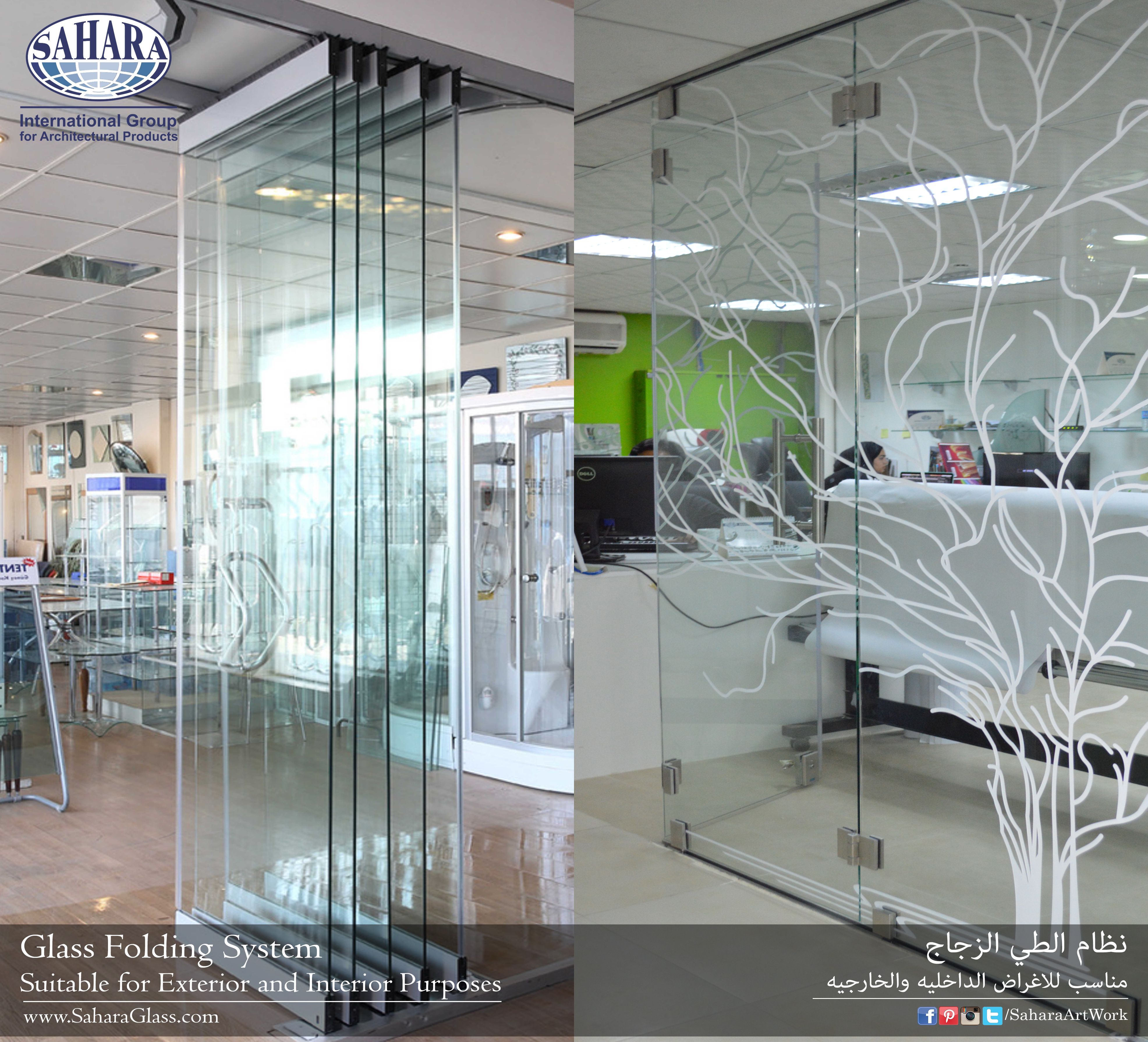Glass Folding System For Interior And Exterior Purposes Come And Visit Our Showroom And Check Our Actual Sample Glas Door Design Door Glass Design Glass Door