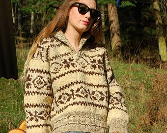 70's Cowichan Sweater, Oversized Chunky Sweater, Wool Knit Vintage Fair Isle Sweater, Brown + Tan NATIVE Hand knit Pullover Sweater