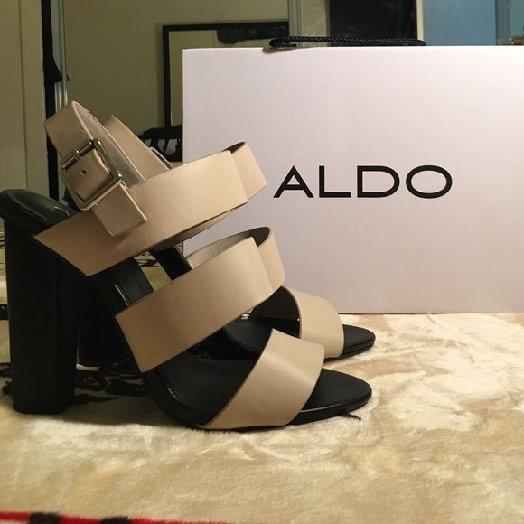 "Aldo Cradia Heel perfect for spring/summer Brand new with box no lid Aldo Cradia Heel.  Size 7.5. Sizing: True to size. regular width. Color beige/cream color. Open toe, Ankle buckle strap closure and approx. 4.25"" heel. ALDO Shoes Heels"