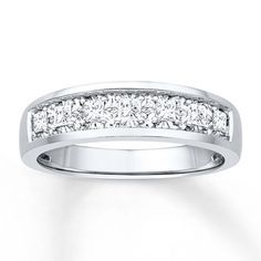 Mens Wedding Band 1/2 ct tw Diamonds 10K White Gold