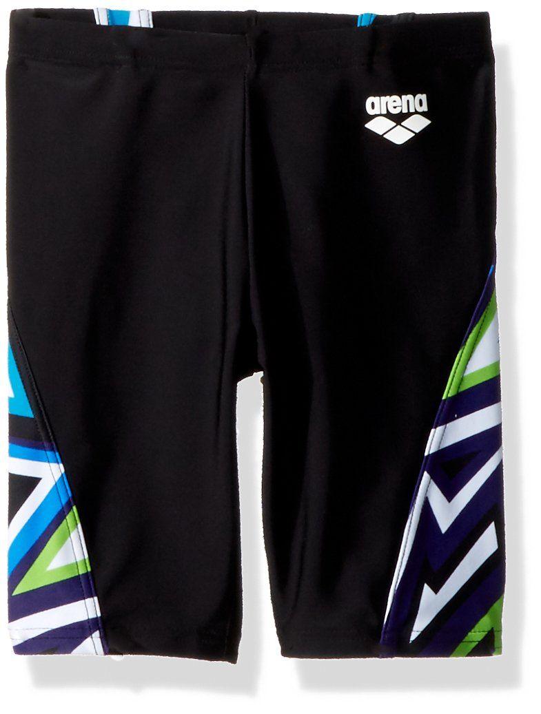 400af95f4d Arena Boys Junior Tulum Panel Jammer Athletic Swim Briefs, Black/Danube  Multicolor, Size