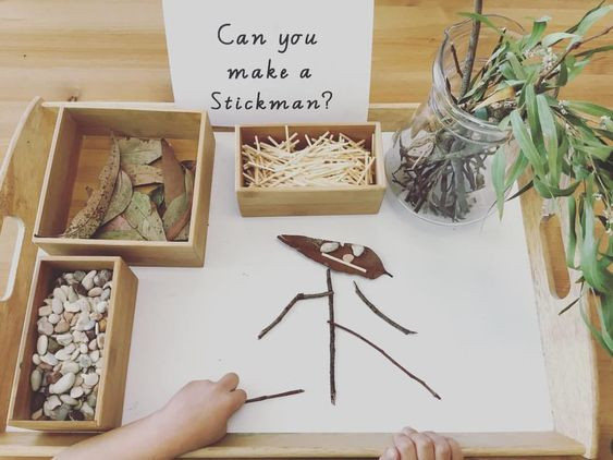 "Our Kindy Journey on Instagram: ""After reading the story Stickman we had the chance to discover and explore using natural loose parts as we made our own stick men. ��"""