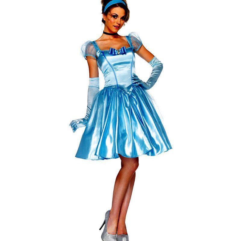 adult Cinderella costume women princess Knee-length dress halloween ...