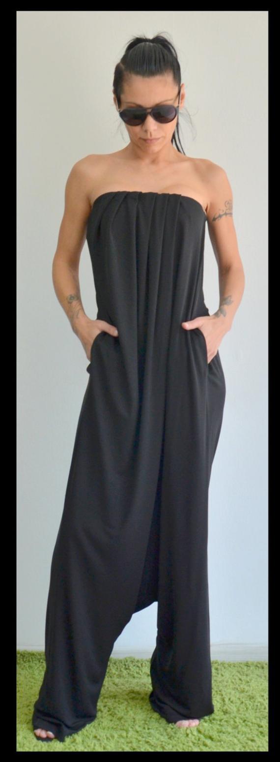 e32f4f2cf6b3 Black jumpsuit harem jumpsuit wide leg jumpsuit women bustier top harem  pants jpg 570x1549 Rompers black