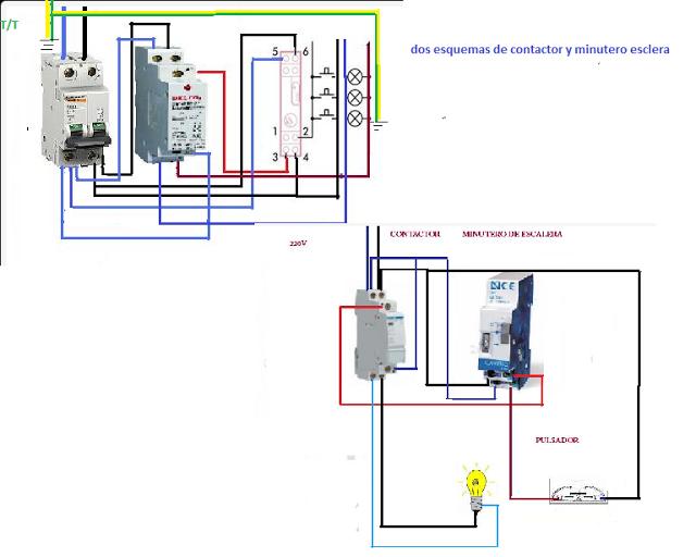 Esquemas El U00e9ctricos  Dos Minuteros Escalera Con Contactor