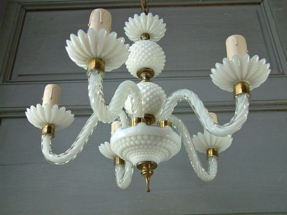 French vintage murano glass hobnail glass and opaline crystal 5 french vintage murano glass hobnail glass and opaline crystal 5 branch chandelier white aloadofball Choice Image