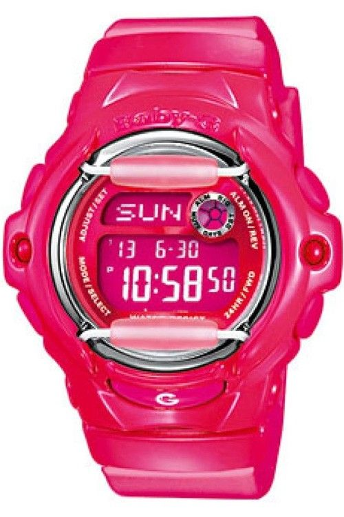 Casio Baby-G Pink Digital Watch BG-169R-4BER  Baby-G introduces a whole new color palette of glossy solids into the line-up. With vivid colors, metallic dials and matching LCDs, these new colors are sure to make a splash. Pink resin band and digital neutral face. Shock Resistant 200M Water Resistant Vivid Color Gloss with Metallic Dials and matching LCDs  See more at:-  http://www.watcho.co.uk/watches/casio-watches/baby-g.html