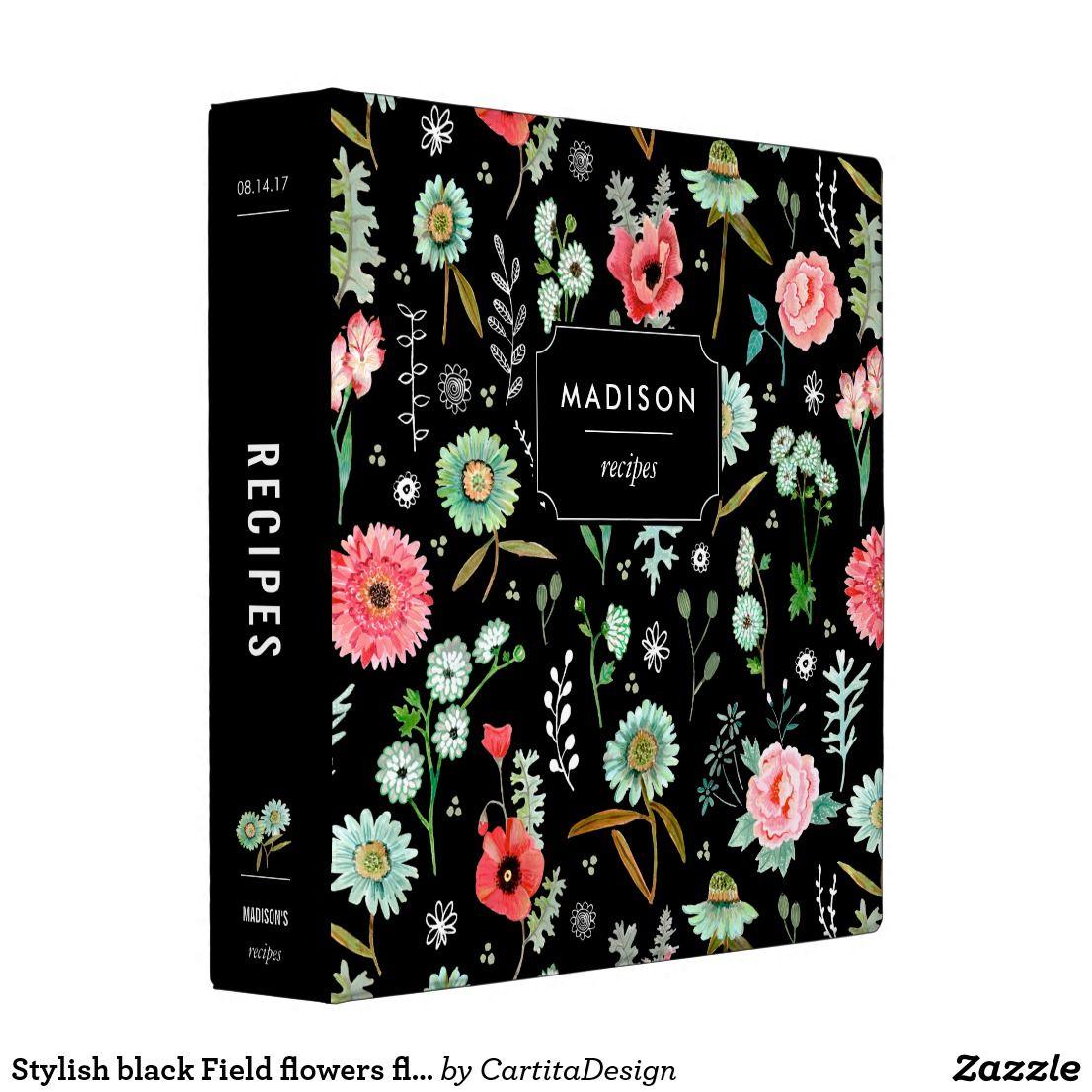Stylish Black Field Flowers Floral Recipe 3 Ring Binder