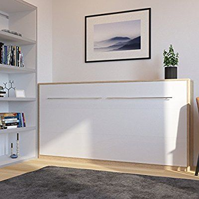 Cama plegable de 90cm horizontal color roble sonoma blanco - Cama pared plegable ...