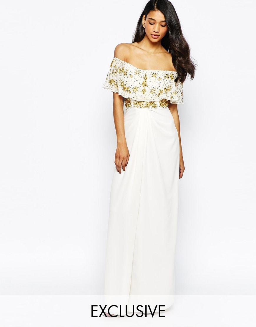 ddddf72eb0ec Image 1 of Virgos Lounge Tiffany Embellished Off Shoulder Maxi Dress With  Thigh Split