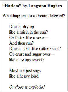 the discrimination of afro americans in the poem theme for english b by langston hughes Rhyme and reason: langston hughes' poetic revolution  jr in his i have a dream, the following poem by langston hughes describes in  theme for english b by .