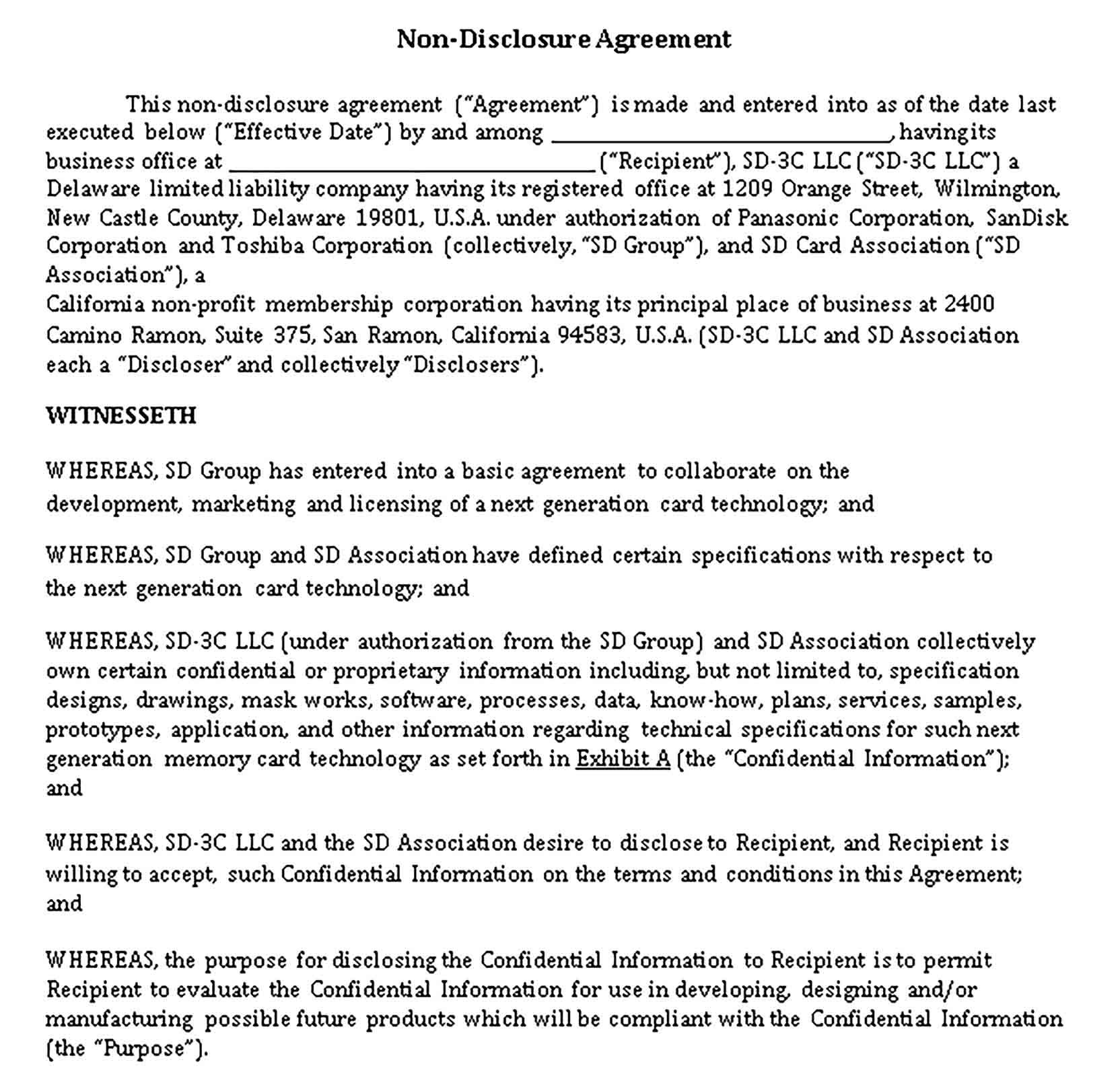 Sample Nondisclosure Agreement Form Template Non Disclosure Agreement Agreement Business Template