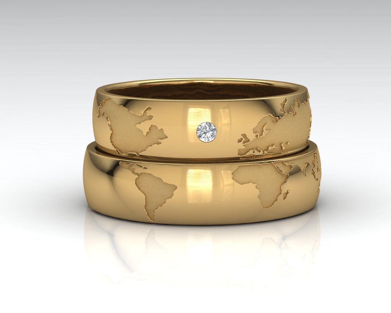 Anillos mapamundi, oro amarillo 18k, diamante, anillos compromiso, boda, aniversario, anillo hombre, anillo mujer, free worldwide shipping