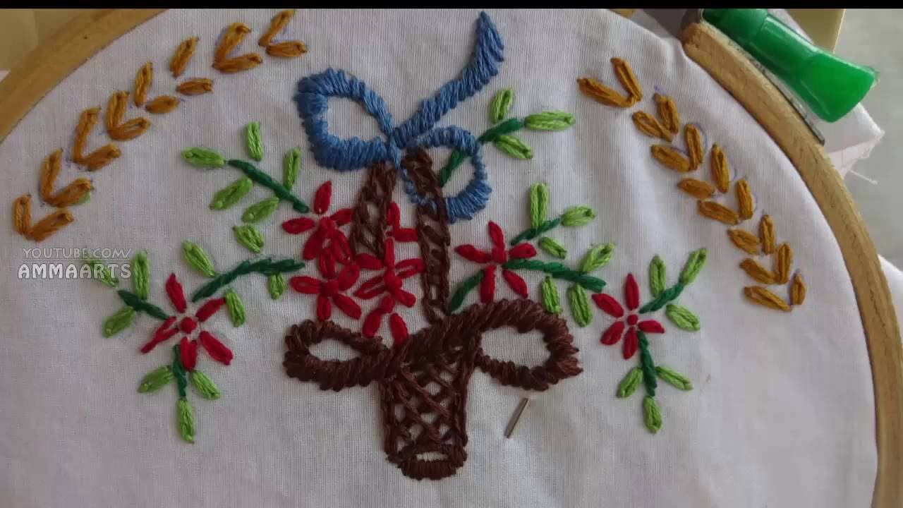 Hand Embroidery Flower Vase Simple Stitching by Amma Arts - YouTube