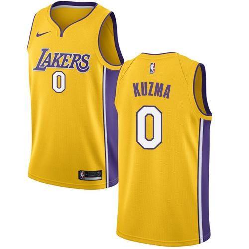 Men 0 Kyle Kuzma Jersey Yellow Los Angeles Lakers Swingman Fanatics ... a4189422a