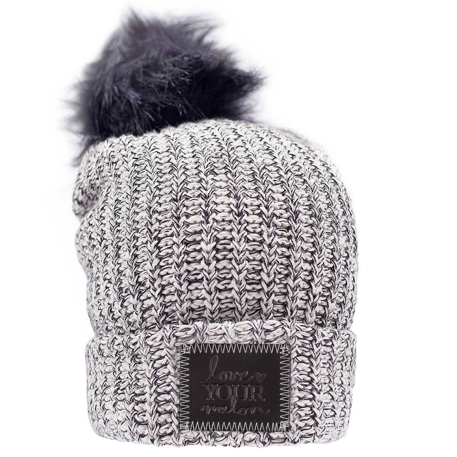 8c5359b8005 Love Your Melon Black Speckled Pom Beanie (Black Leather Patch ...
