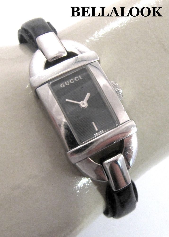 d8f44cd0f0e AUTHENTIC GUCCI 6800L STAINLESS STEEL BLACK DIAL BLACK LEATHER SWISS MADE  WATCH  GUCCI