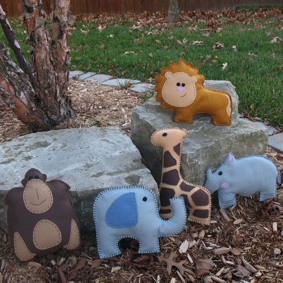 Safari Stuffed Animal Sewing Patterns, Felt Jungle Plushies ...