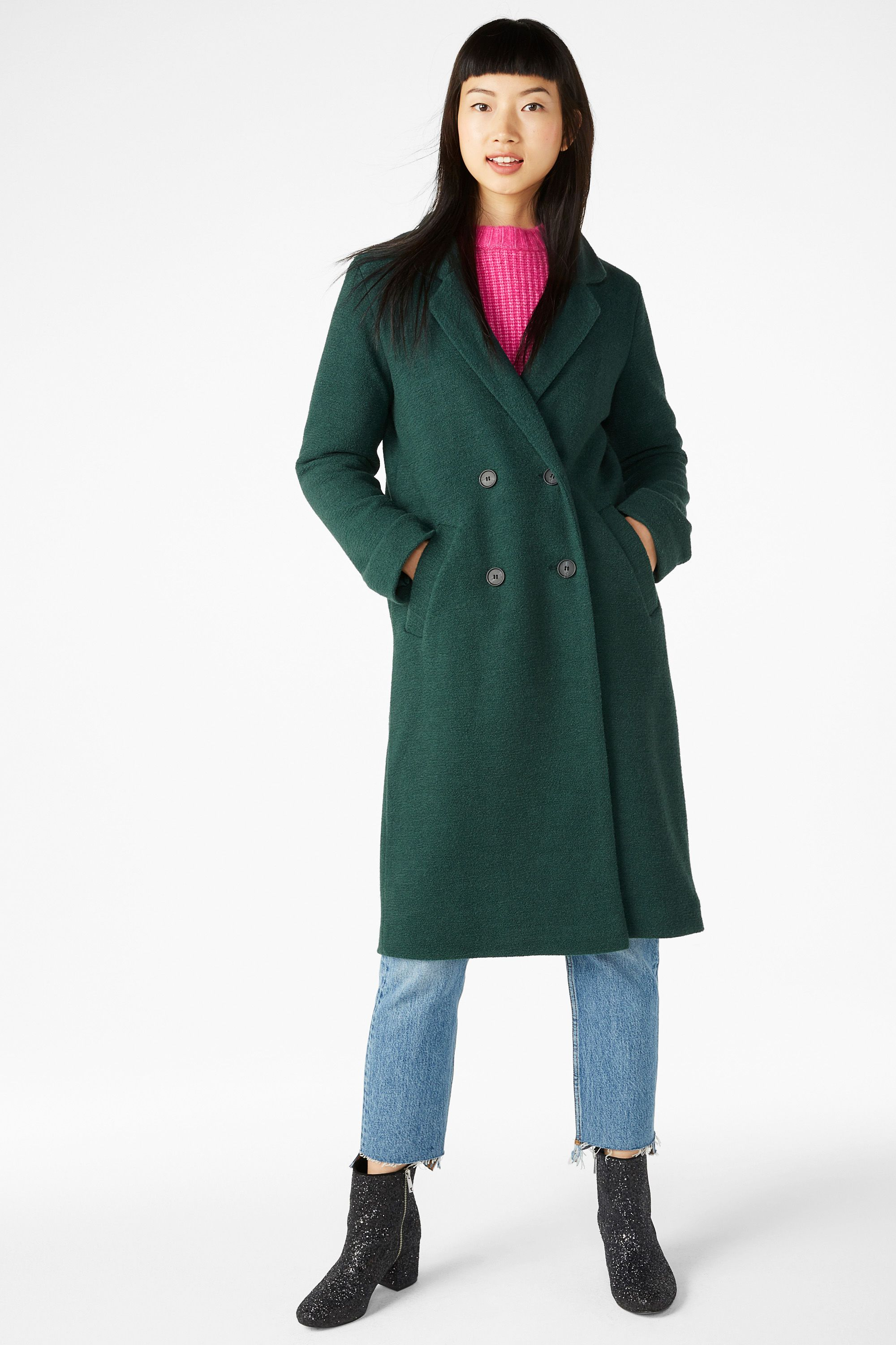 76e0a5ac6809 Double-breasted coat - Deep forest green - Coats & Jackets - Monki ...