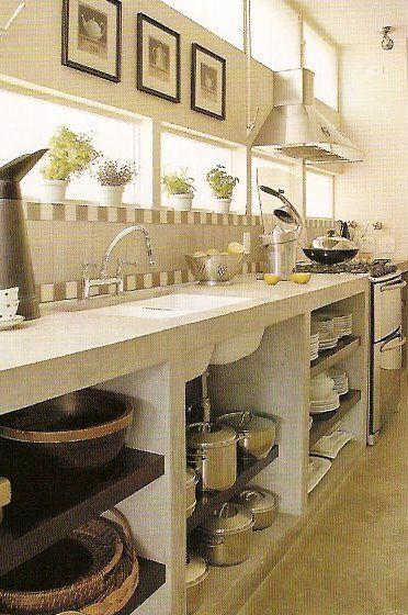 cozinha rustica, com bancada de concreto
