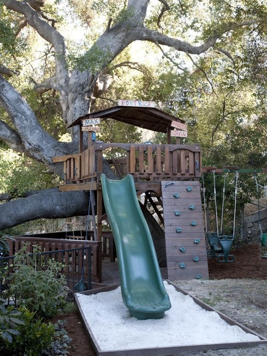 kids tree houses with slides. This Would Be Cool! Build A Tree House Platform For Your Water Slide! Kids Houses With Slides