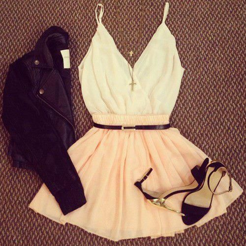 lovely look: white top, rose skirt, black jacket, sandals, cross necklace