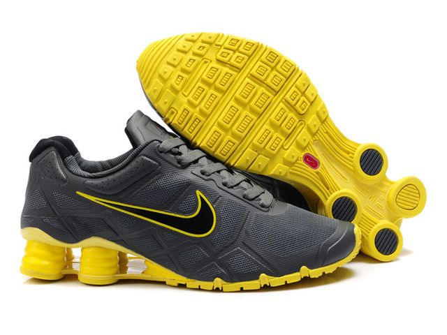 f6b6688b3422 Various styles of shoes debut-Nike Shox R6 Mens Charcoal Gray Yellow Shoes  www.cheapshoxes.net