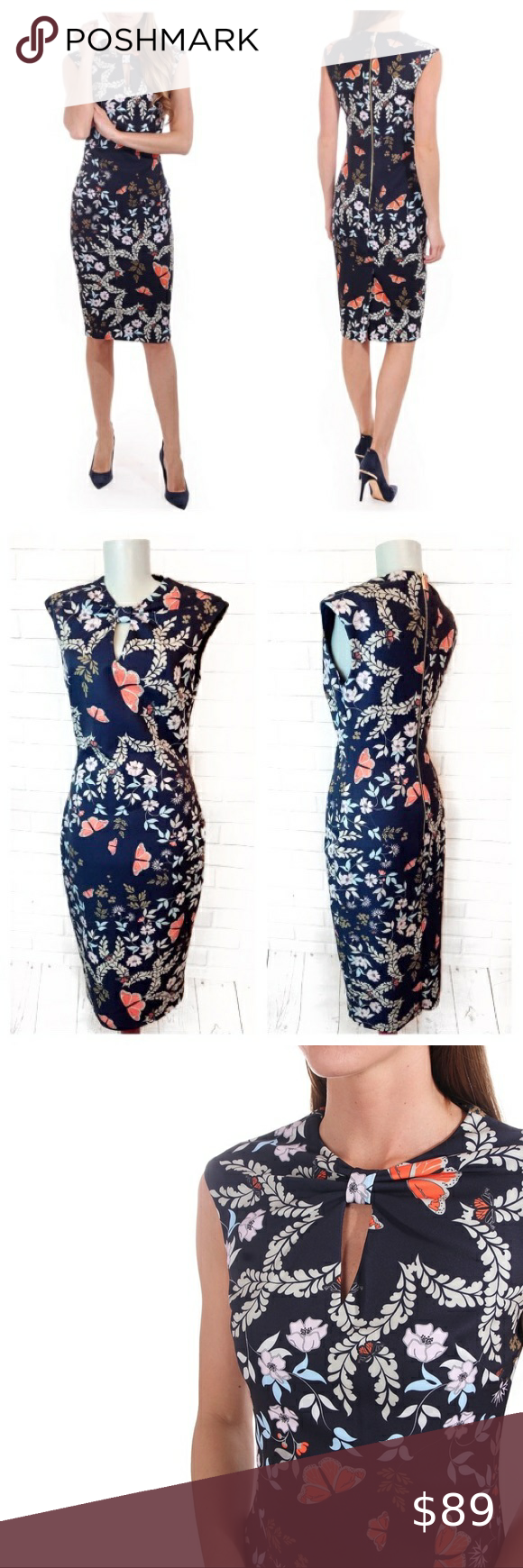 Ted Baker • Kairra Kyoto Gardens Bow Neck Dress Ted Baker • Kairra Kyoto Gardens Bow Neck Dress is gentle worn. Measurements are:  Length: 43.5 inches  Bust: 16.5 inches  Waist: 14.5 inches  Hip: 18.5 inches Comes from pet and smoke free home.   1 Day Shipping ~ Bundle Items To Save.  Follow along @fashion___warrior on IG! Ted Baker London Dresses Midi