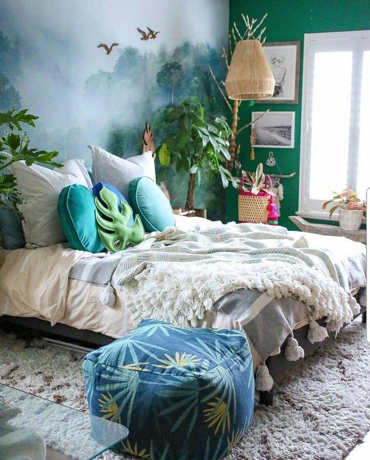 Böhmisches Schlafzimmer, Zuhause, Deko-Ideen, Dschungel, Tropisch, Wandmalerei, Materialien, Natürlich #bohemianbedrooms