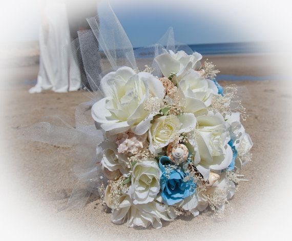 beach bouquet with seashells | similar to Bridal Bouquet of Silk and Dried Flowers and Seashells ...