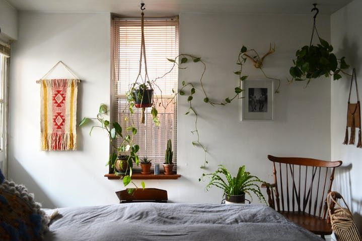 A lot fits into this 550 square foot Philly rental: a drool-worthy fireplace, brick walls, hip furniture and tons of plants.