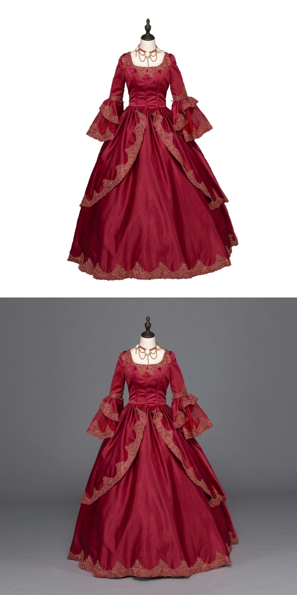Burgundy Marie Antoinette Renaissance Dress Christmas Ball Gown ...