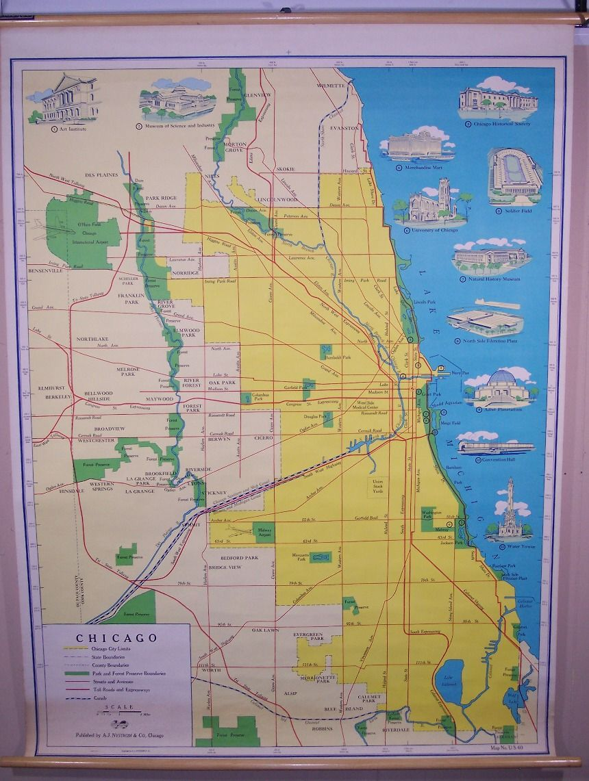 Chicago. . Nystrom & . Schoolroom Wall Maps
