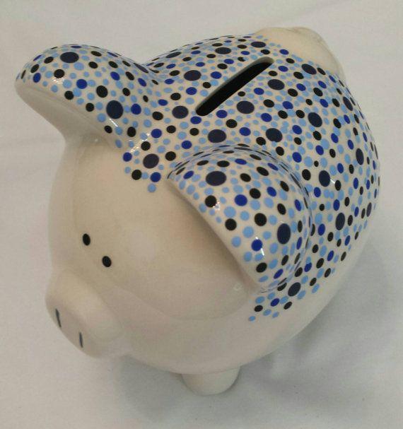 Ceramic Hand Painted Blue & Black Piggy Bank https://www.etsy.com/listing/209188120/ceramic-hand-painted-blue-black-piggy