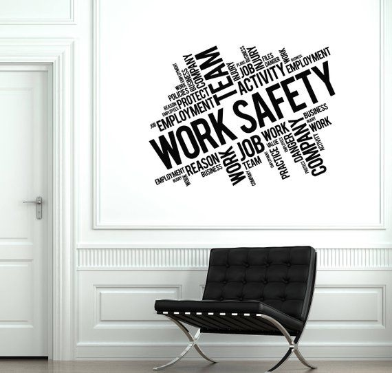 work safety vinyl wall decal words cloud office decoration stickers