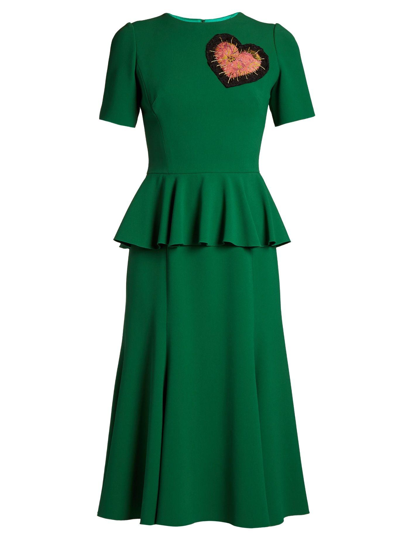 Embellished Heart Round Peplum Green Dress Gabbana In Dolceamp; Neck OZuXiPk