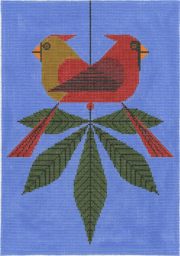 Cardinals Consorting from Treglown Designs: This Charley Harper design is hand-painted onto 13:1 mesh 100% cotton needlepoint canvas. Approximately 9.5-inches x 13-inches. Please note: needlepoint yarn is not included. $99.00