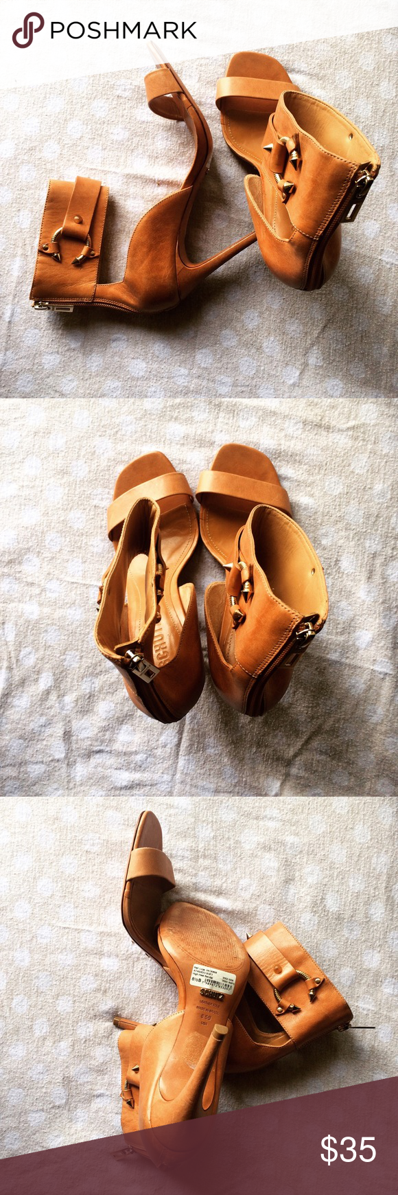 Leather Open-toed tan heels Quality lightweight leather open toed tan heels. Only worn once. shultz Shoes Heels