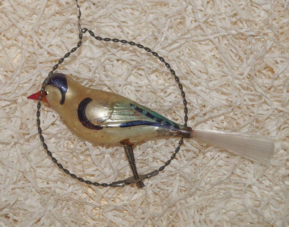 Schoner Lauscha Vogel Auf Vogelschaukel Um 1910 6800 Alter