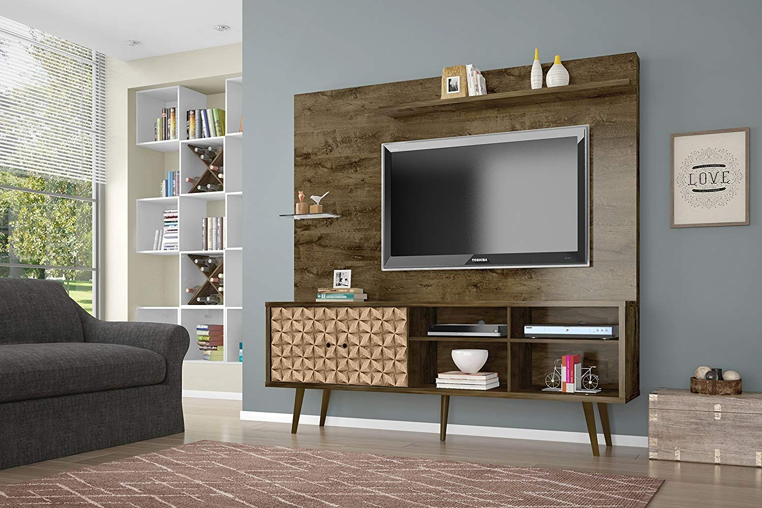Liberty Complete Living Room Entertainment Center And Tv Stand Rustic Brown 3d Brown Casagear Fa Living Room Designs Rustic Living Room Entertainment Center