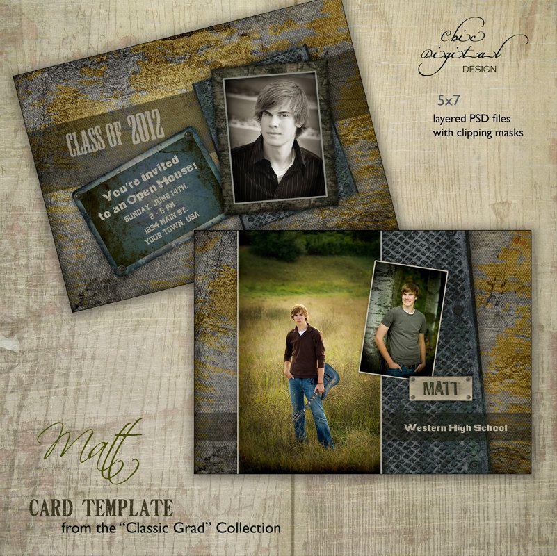 Graduation Announcement Card Template for Photographers - 5x7 Guys ...