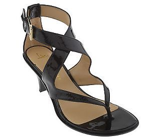 03c21dffd B. Makowsky Leather Mid-Heel Thong Sandals with Buckle. I want these!